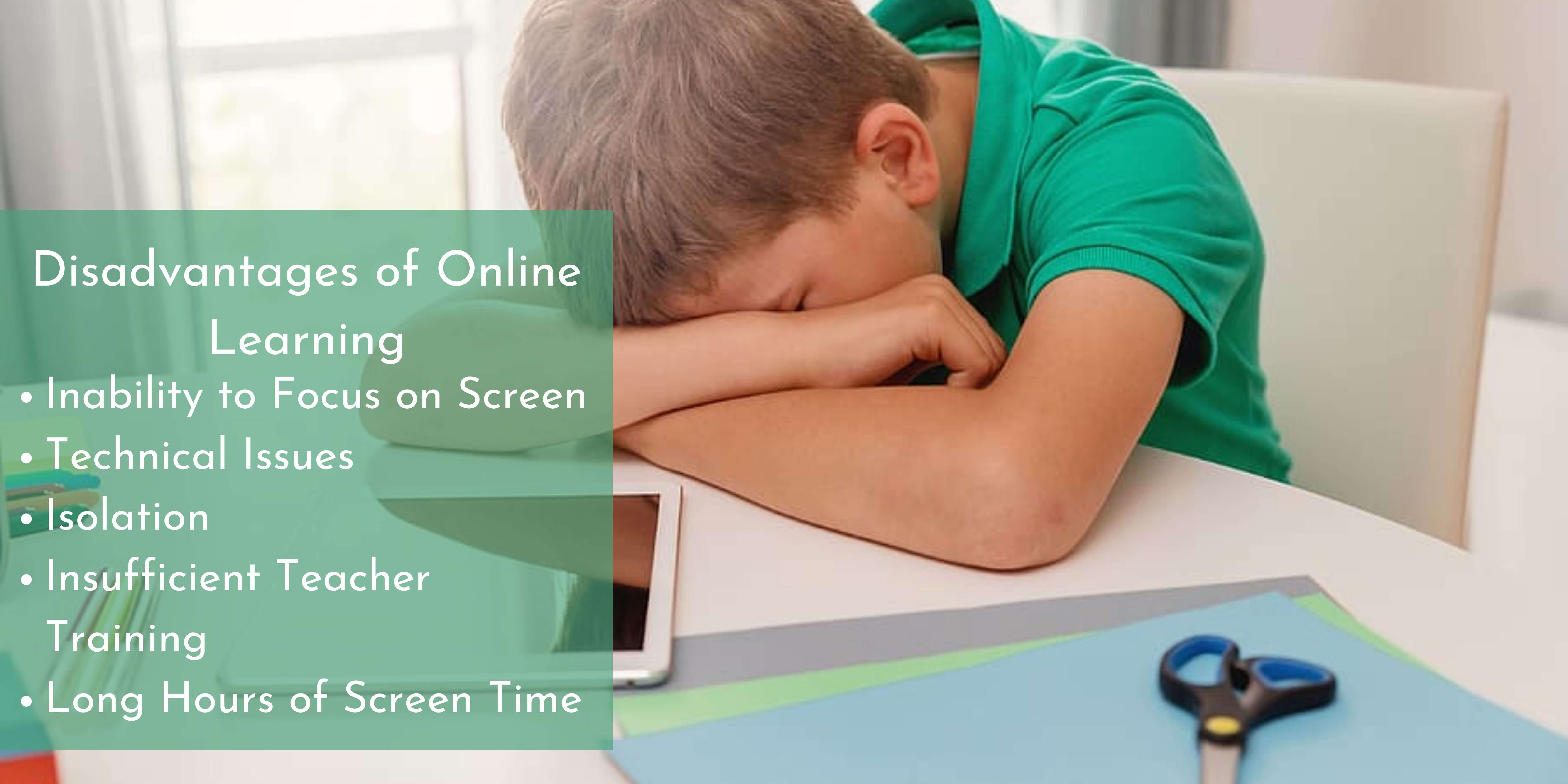 Disadvantages of Online Learning banner, listing out the points