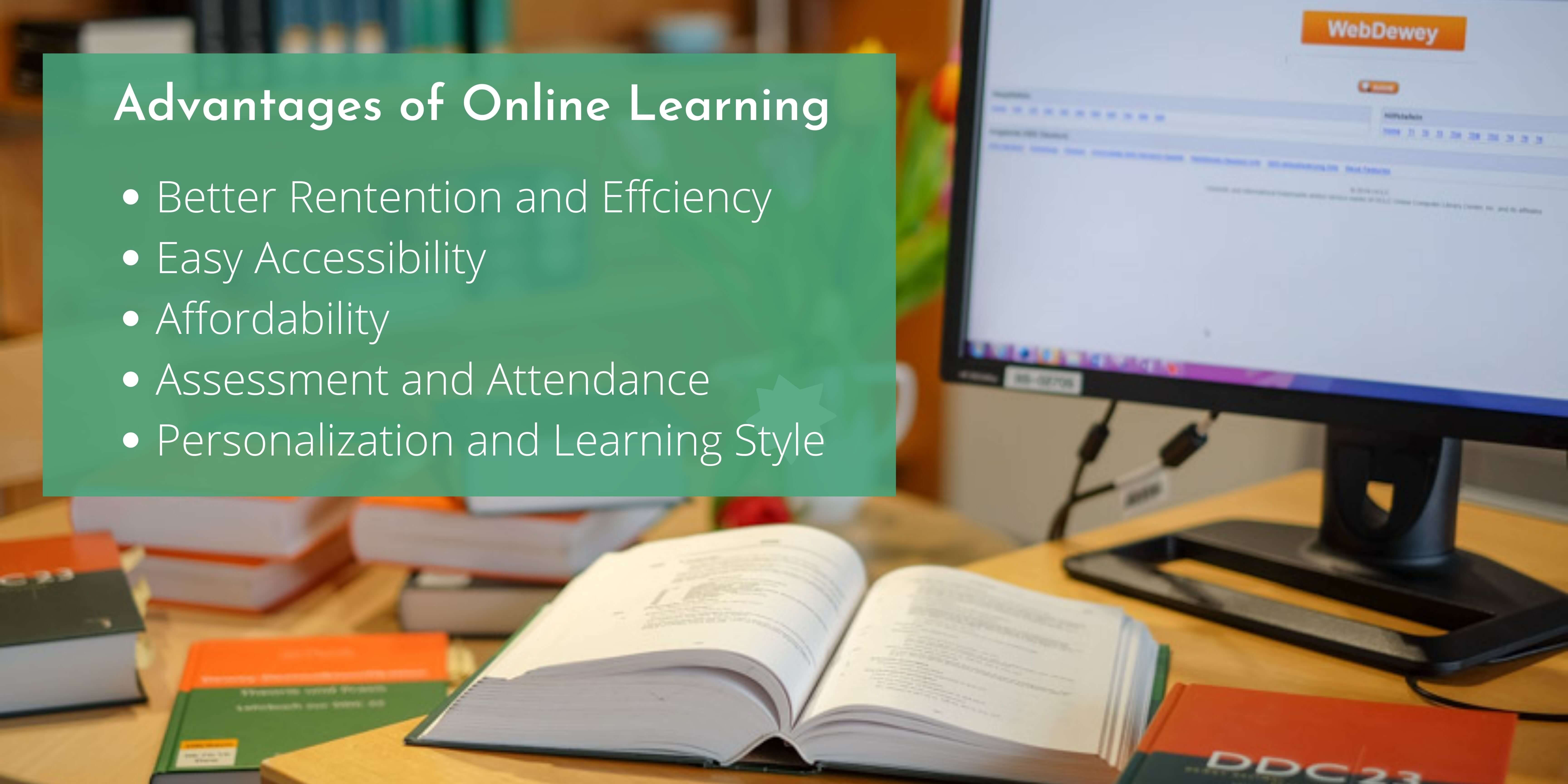 Advantages of Online Learning banner, listing out the points